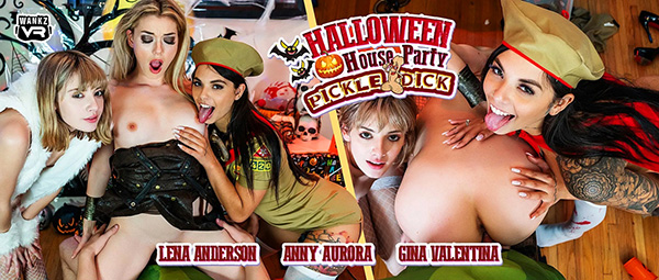 [WankzVR] Halloween House Party: Pickle-Dick - Lena Anderson, Anny Aurora, Gina Valentina (Smartphone) [1080p 60FPS]