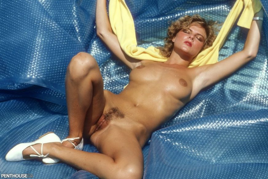 Greta Andersen posing nude for the March 1983 issue of Penthouse