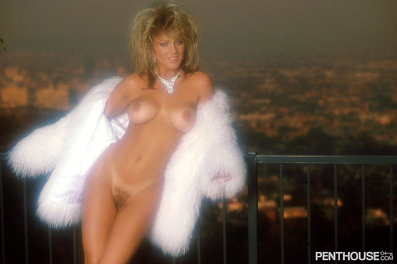 Kelley Wild posing nude for the May 1988 issue of Penthouse