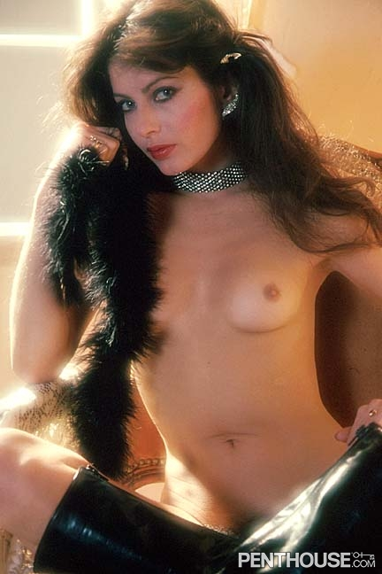 Nicole Monrowe posing nude for the November 1982 issue of Penthouse