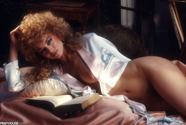 Sarah Remington Graves posing nude for the January 1986 issue of Penthouse