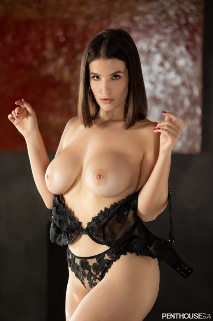 LaSirena69 stripping nude out of lingerie in her February 2021 Penthouse Pet Of The Month photo spread 003