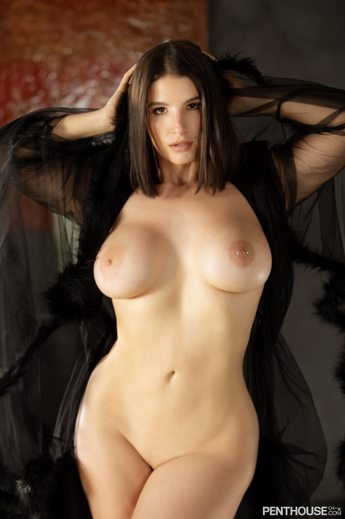 LaSirena69 stripping nude out of lingerie in her February 2021 Penthouse Pet Of The Month photo spread 009