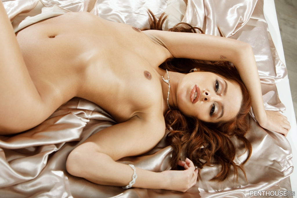 Vanna Bardot nude on satin sheets in her January 2021 Penthouse Pet Of The Month photo spread 008