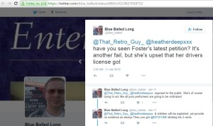 Tristan Stadtmuller aka @Blue_balled conversing openly with Donny Long aka Donald Carlos Seoane (@heatherdeepxxx) on twitter in regards to the posting of government issued identification documents on Pornwikileaks
