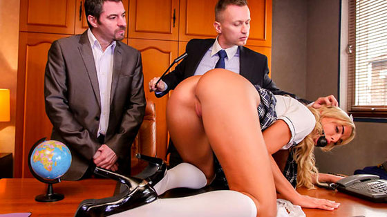 Schoolgirl Victoria Pure takes anal like a champ with