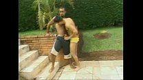 Brasileiros gays com uma baita de gozar depois da transa