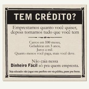 Panfleto: Tem Crédito? Dinheiro fácil