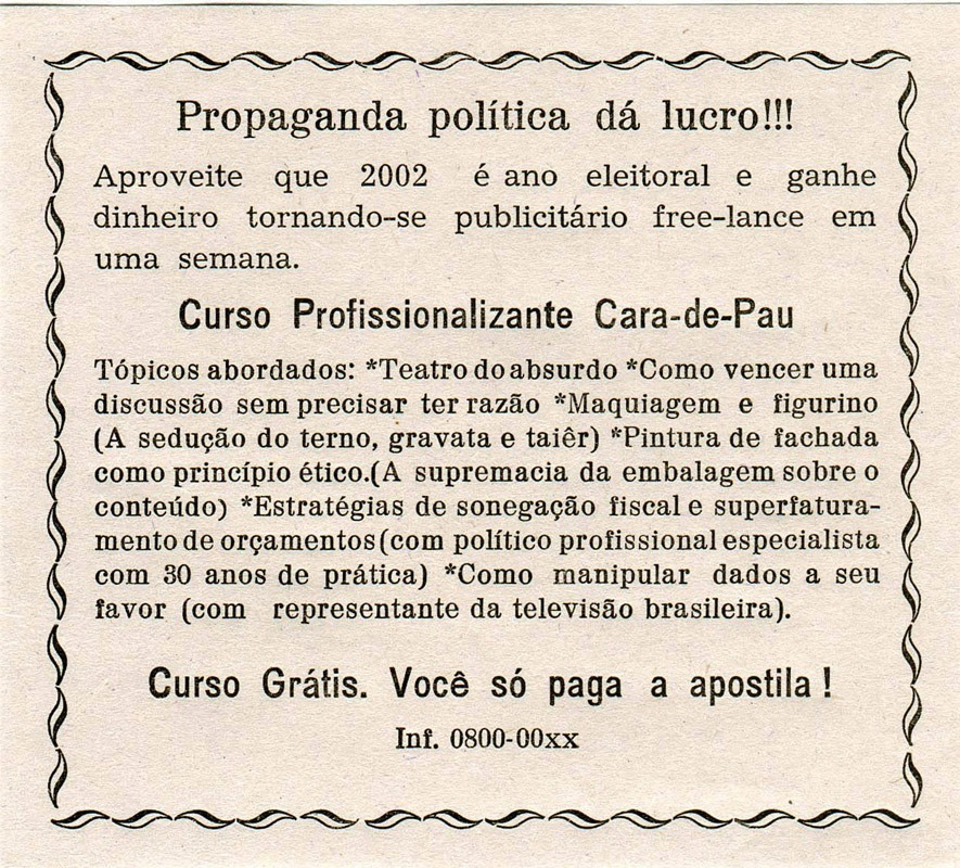 Panfleto Propaganda política dá lucro