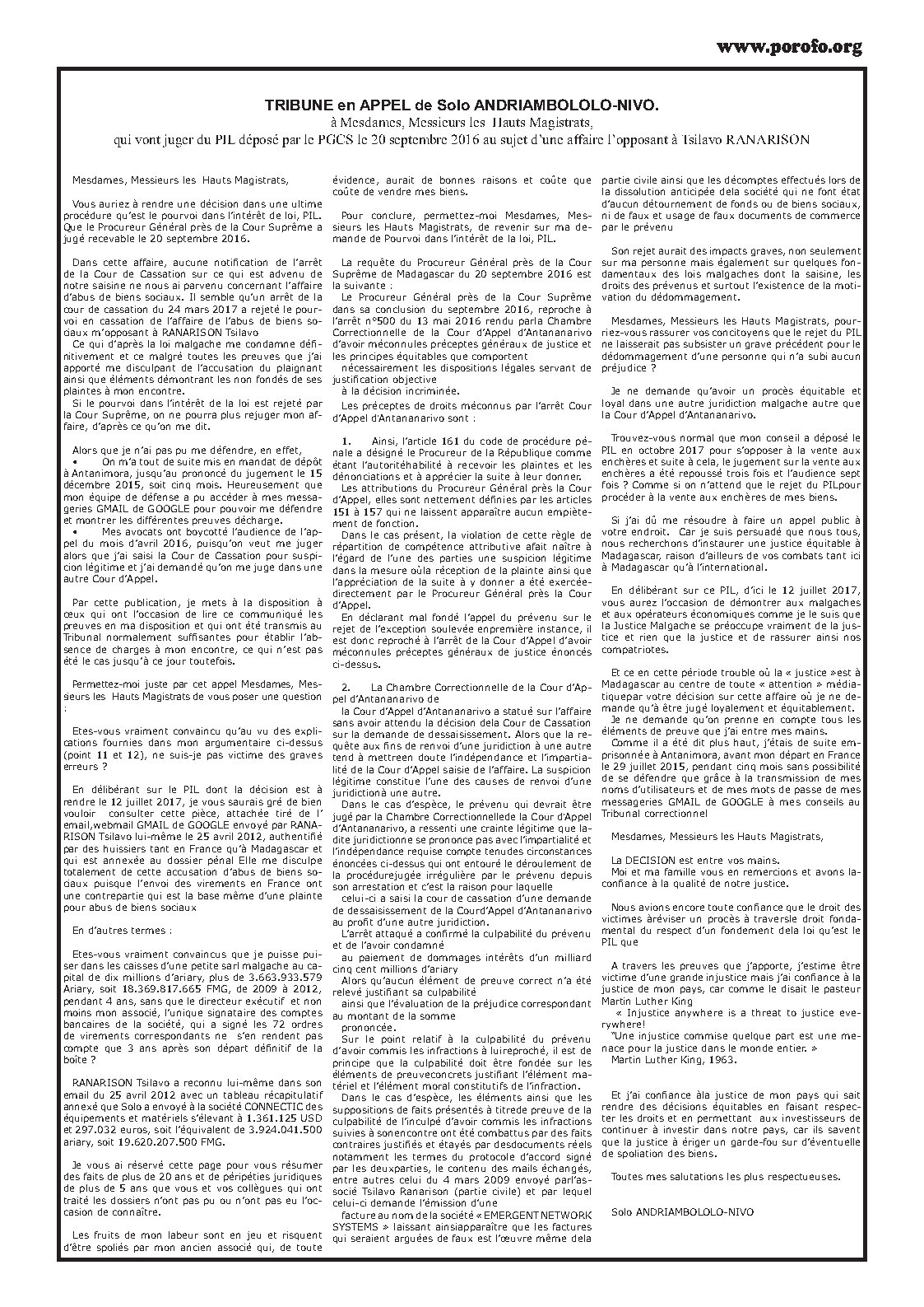 Appel aux avocats de la Cour de Cassation Solo ANDRIAMBOLOLO NIVO contre RANARISON Tsilavo Page3 - Appel aux Magistrats de Madagascar