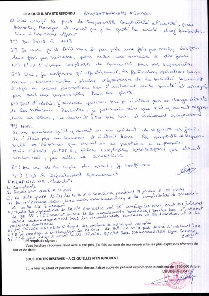 Constat dhuissier il ny a pas dordre de virement signé à blanc chez CONNECTIC Page2 - Les 76 virements internationaux de1.047.060 euros que RANARISON Tsilavo considèrent comme illicites ont une contre partie et les 76 OVs ont été signés par le plaignant lui-même : la preuve complète est ici !