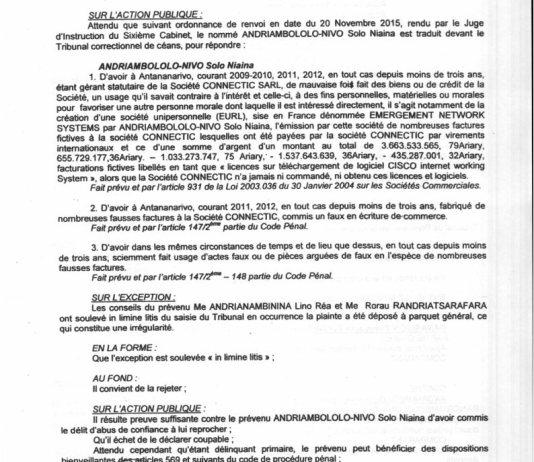 RANARISON Tsilavo contre Solo Jugement du tribunal correctionnel dAntananarivo du 15 décembre 2015 Page2 1 - Home