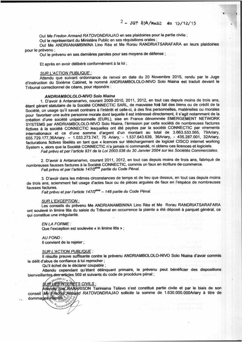 RANARISON Tsilavo contre Solo Jugement du tribunal correctionnel dAntananarivo du 15 décembre 2015 Page2 - La totalité des décisions de justice condamnant Solo
