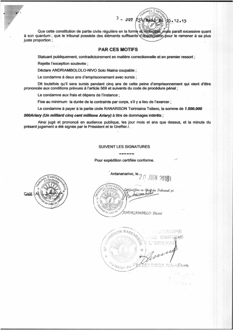 RANARISON Tsilavo contre Solo Jugement du tribunal correctionnel dAntananarivo du 15 décembre 2015 Page3 - La totalité des décisions de justice condamnant Solo