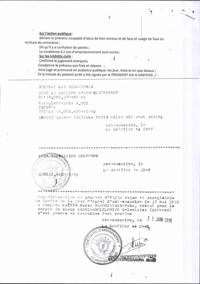 RANARISON Tsilavo contre Solo arret cour dappel antananarivo du 13 mai 2016 Page4 - La totalité des décisions de justice condamnant Solo