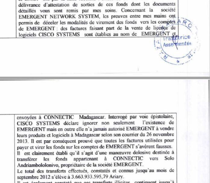 RANARISON Tsilavo dans son PV police du 22 juillet 2015 dit quil a demandé à CISCO si emergent peut vendre des IOS CISCO - RANARISON Tsilavo a établi la première facture IOS (licence ou logiciel CISCO) d'EMERGENT pour CONNECTIC Madagascar