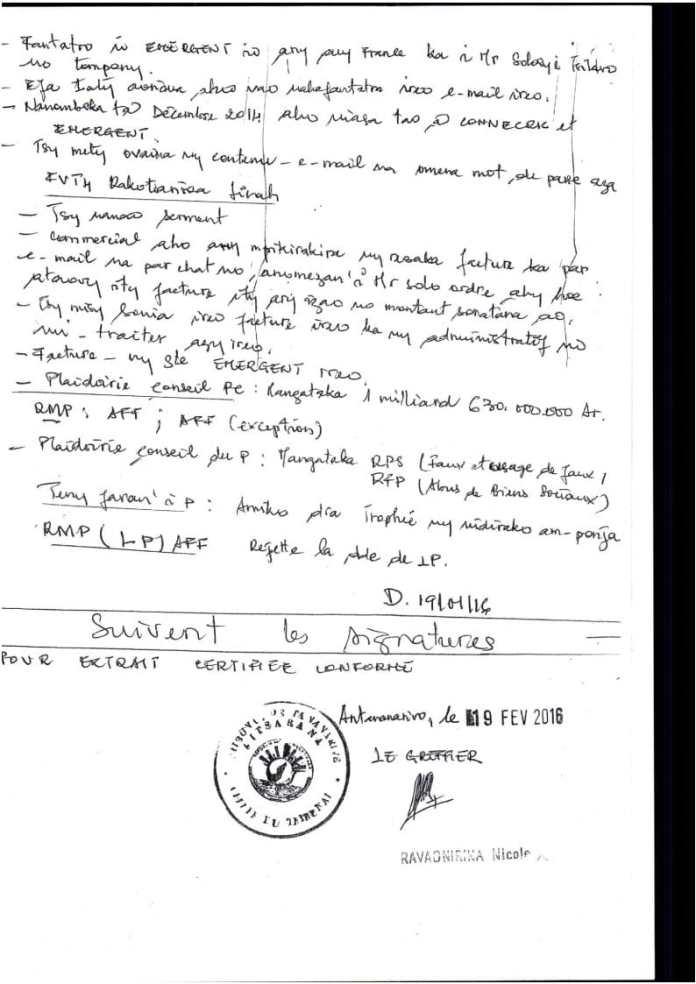 RANARISON Tsilavo extrait plumitif du 8 décembre 2015 Page3 - Décisions de justice sur l'affaire de Solo