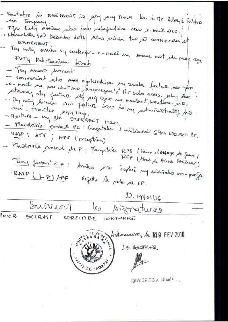 RANARISON Tsilavo extrait plumitif du 8 décembre 2015 Page3 - A vous de juger avec la totalité des jugements rendus par les Tribunaux et les Cours à Madagascar