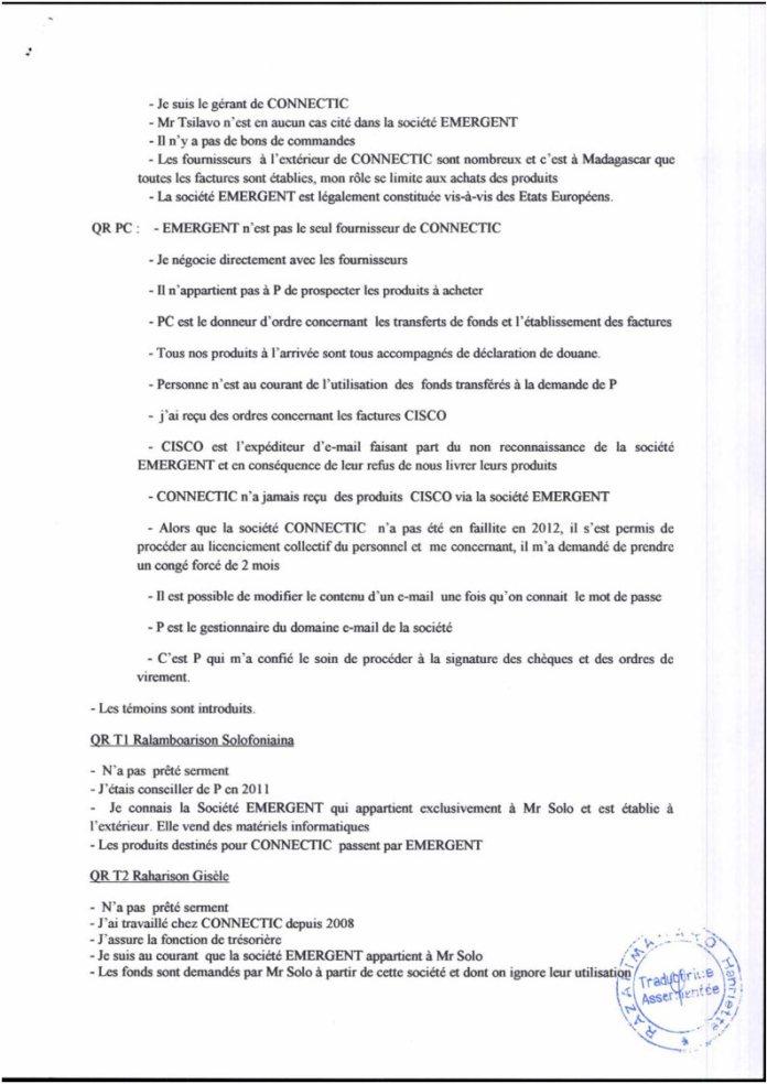 RANARISON Tsilavo traduction en français du Plumitif du 8 décembre 2015 Page2 - La totalité des décisions de justice condamnant Solo