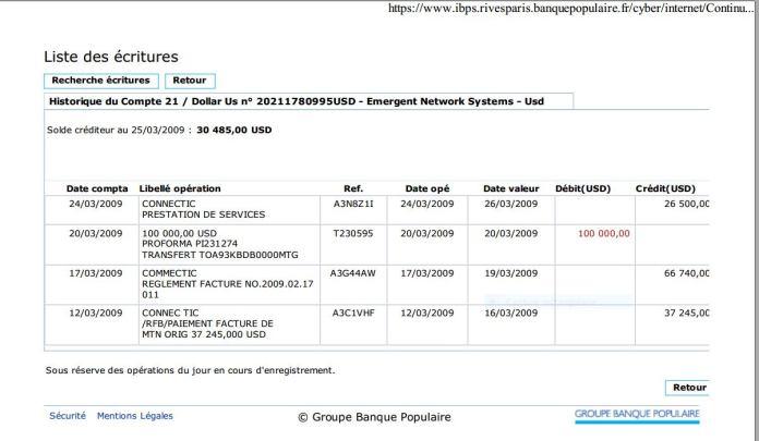 Les trois virements sont bien arrivés de CONNECTIC chez EMERGENT le 25 mars 2009 - En mars 2009, RANARISON Tsilavo envoie les trois premiers virements à EMERGENT pour payer les deux factures de produits CISCO destinés à CONNECTIC