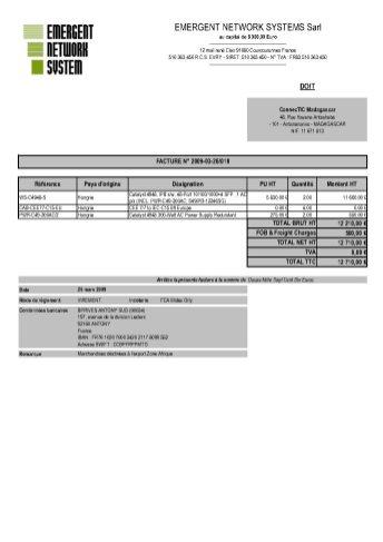 RANARISON Tsilavo établit EMERGENT pour le dossier BMOI 2 - RANARISON Tsilavo signent les bons de commande des produits CISCO achetés par EMERGENT NETWORK à WESTCON pour CONNECTIC