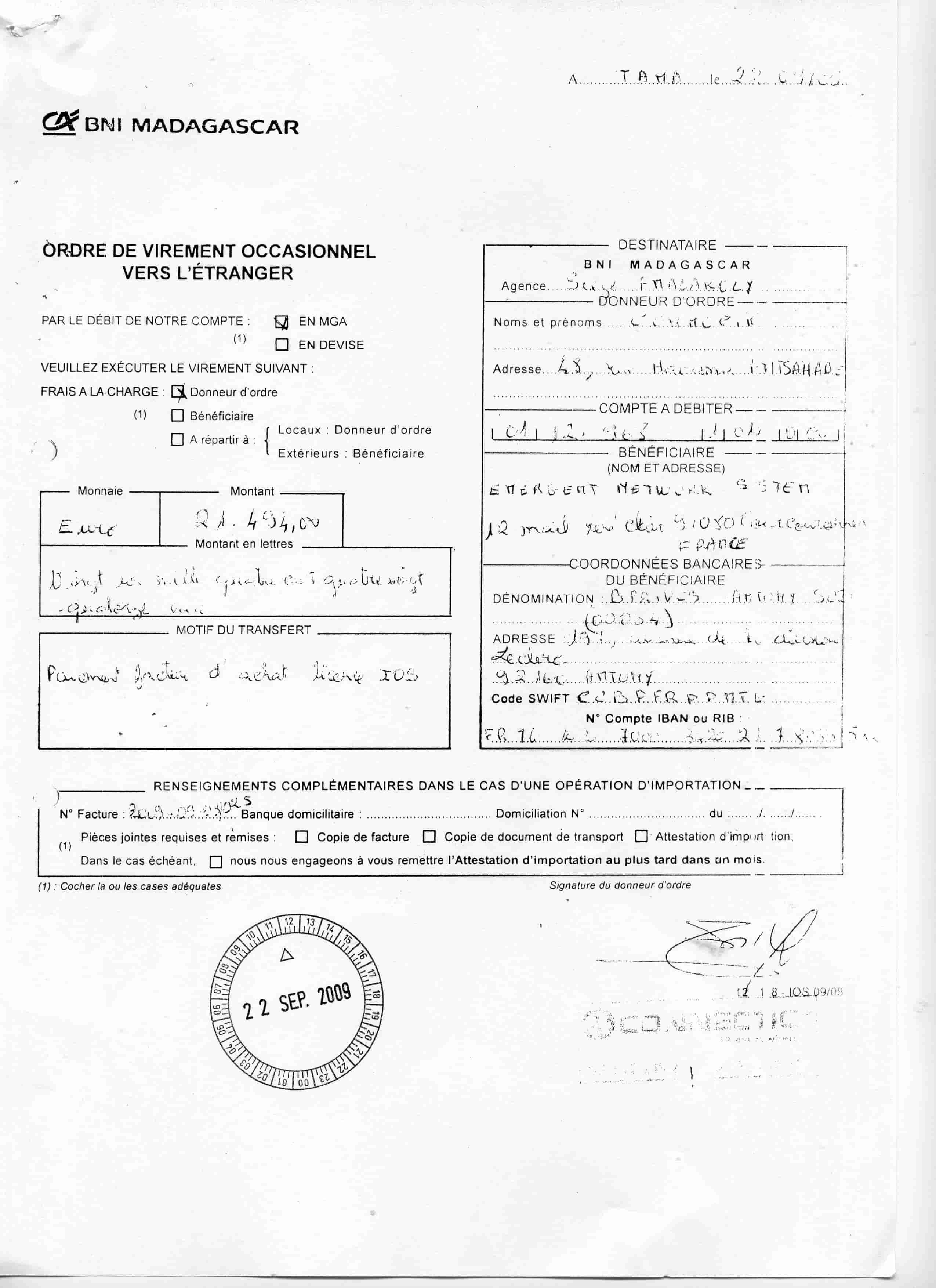 Virement 2009 signé par RANARISON Tsilavo 7 min 1 - En 2009, RANARISON Tsilavo a signé TOUS les ordres de virements bancaires de CONNECTIC Madagascar  vers EMERGENT