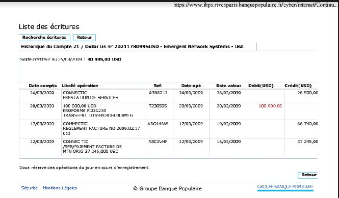 RANARISON Tsilavo preuve des 3 virements reçus de COnnectic et paiement à WESTCON Africa COmstor - En février 2009, RANARISON Tsilavo établit le premier bon de commande des produits CISCO  achetés à la société WESTCON Africa COMSTOR par EMERGENT NETWORK