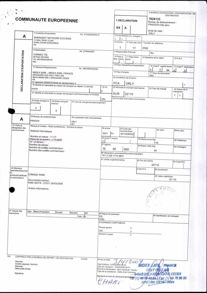 24082017 dossier douanes françaises EX1 2009 Page 02 - En février 2009, RANARISON Tsilavo établit le premier bon de commande des produits CISCO  achetés à la société WESTCON Africa COMSTOR par EMERGENT NETWORK