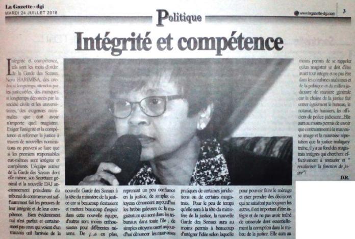 Intégrité et compétence tels sont les mots d'ordre de la Garde des Sceaux Noro HARIMISA la gazette de la grande ile du 24 juillet 2018 article - Intégrité et compétence, tels sont les mots d'ordre de la Garde des Sceaux, Noro HARIMISA - la gazette de la grande ile du 24 juillet 2018