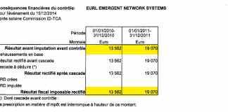 conséquences financières du contrôle fiscal de la société EMERGENT au 15 décembre 2014 après saisine Commission ID TDA - Home