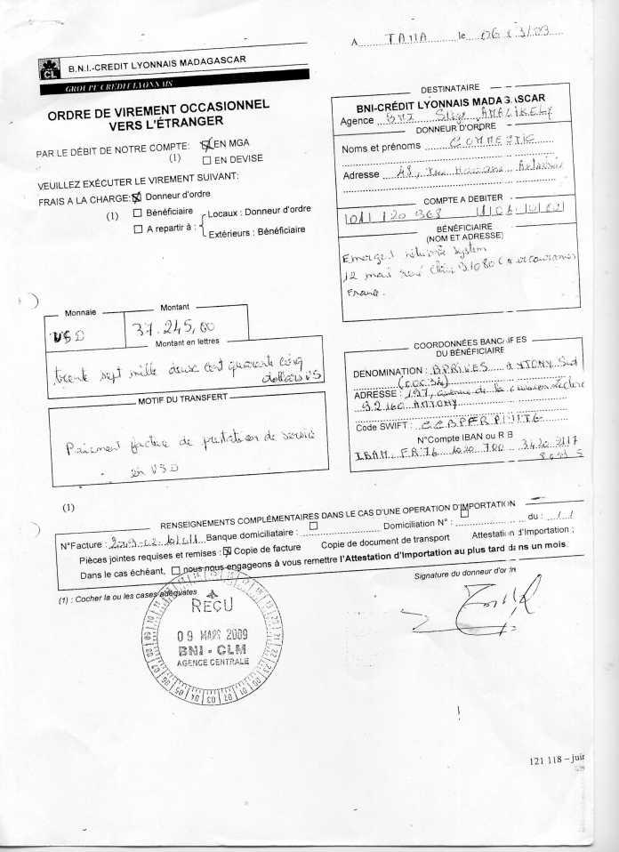 les trois premiers virements001 - RANARISON Tsilavo signent les bons de commande des produits CISCO achetés par EMERGENT NETWORK à WESTCON pour CONNECTIC