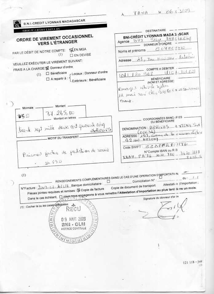les trois premiers virements001 - Ce n'est qu'en septembre 2012, que RANARISON Tsilavo reçoit la confirmation que la société française EMERGENT NETWORK appartient exclusivement à Solo