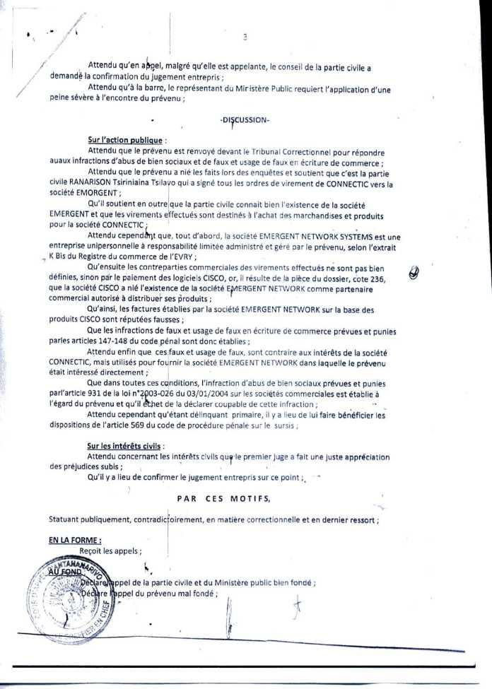 Arrêt de la Cour dAppel qui relate de lattestation Cisco - Ce n'est qu'en septembre 2012, que RANARISON Tsilavo reçoit la confirmation que la société française EMERGENT NETWORK appartient exclusivement à Solo