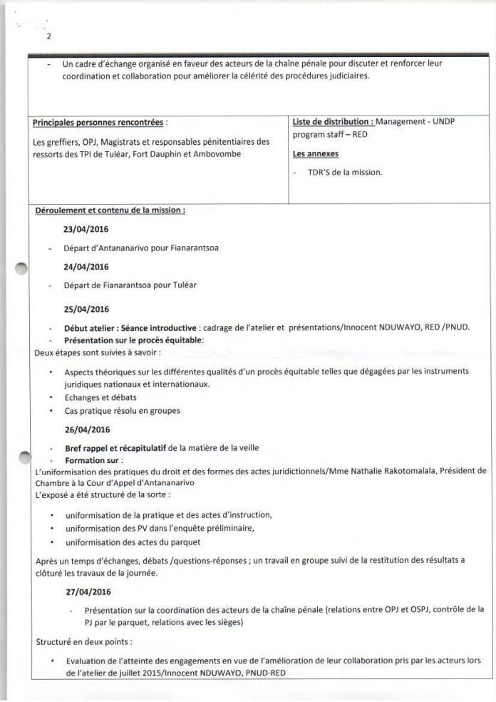 PNUD RED atelier de renforcement de capacités des acteurs de la chaîne pénale de tuléar avril 2016 Page 2 - Sans motivation est le jugement du tribunal correctionnel d'Antananarivo qui condamne Solo à 2 ans de prison avec sursis et 1.500.000.000 ariary de dommages intérêts au profit de RANARISON Tsilavo