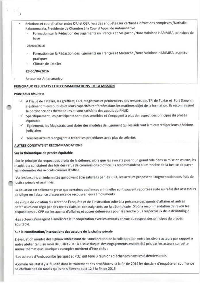 PNUD RED atelier de renforcement de capacités des acteurs de la chaîne pénale de tuléar avril 2016 Page 3 - Sans motivation est le jugement du tribunal correctionnel d'Antananarivo qui condamne Solo à 2 ans de prison avec sursis et 1.500.000.000 ariary de dommages intérêts au profit de RANARISON Tsilavo