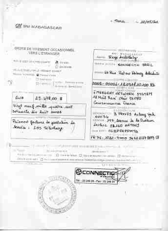 2012 virements bancaires tous signés par RANARISON Tsilavo 15 min - En 2012, RANARISON Tsilavo a signé TOUS les ordres de virements bancaires de CONNECTIC Madagascar  vers EMERGENT