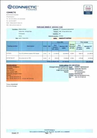 RANARISON Tsilavo ont signé les bons de commande de EMERGENT pour WESTCON Africa Page12 - RANARISON Tsilavo signent les bons de commande des produits CISCO achetés par EMERGENT NETWORK à WESTCON pour CONNECTIC