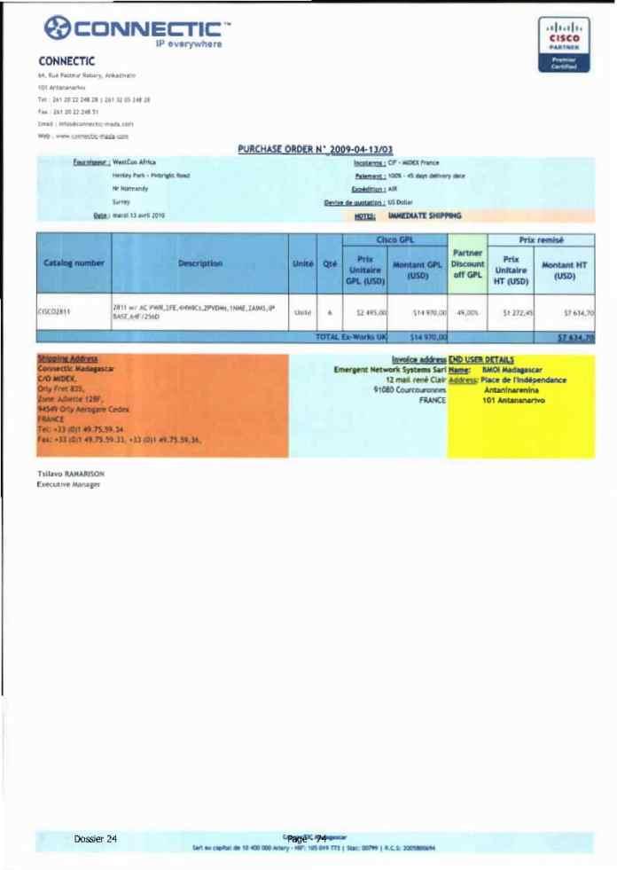 RANARISON Tsilavo ont signé les bons de commande de EMERGENT pour WESTCON Africa Page14 - Ce n'est qu'en septembre 2012, que RANARISON Tsilavo reçoit la confirmation que la société française EMERGENT NETWORK appartient exclusivement à Solo