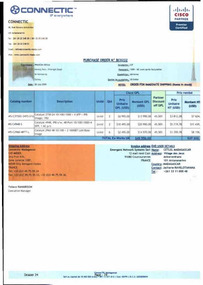 RANARISON Tsilavo ont signé les bons de commande de EMERGENT pour WESTCON Africa Page18 - RANARISON Tsilavo signent les bons de commande des produits CISCO achetés par EMERGENT NETWORK à WESTCON pour CONNECTIC