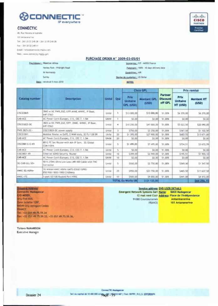 RANARISON Tsilavo ont signé les bons de commande de EMERGENT pour WESTCON Africa Page19 - RANARISON Tsilavo signent les bons de commande des produits CISCO achetés par EMERGENT NETWORK à WESTCON pour CONNECTIC