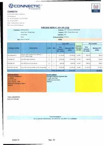 RANARISON Tsilavo ont signé les bons de commande de EMERGENT pour WESTCON Africa Page25 - En février 2009, RANARISON Tsilavo établit le premier bon de commande des produits CISCO  achetés à la société WESTCON Africa COMSTOR par EMERGENT NETWORK