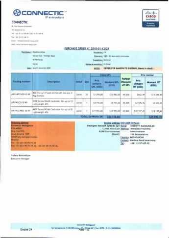 RANARISON Tsilavo ont signé les bons de commande de EMERGENT pour WESTCON Africa Page7 - Les bons de commande des produits CISCO achetés chez WESTCON COMSTOR par EMERGENT NETWORK pour CONNECTIC sont signés par RANARISON Tsilavo