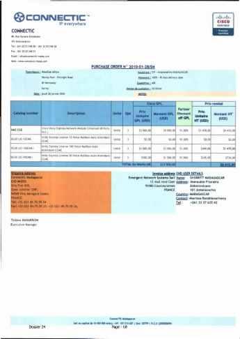 RANARISON Tsilavo ont signé les bons de commande de EMERGENT pour WESTCON Africa Page8 - En février 2009, RANARISON Tsilavo établit le premier bon de commande des produits CISCO  achetés à la société WESTCON Africa COMSTOR par EMERGENT NETWORK