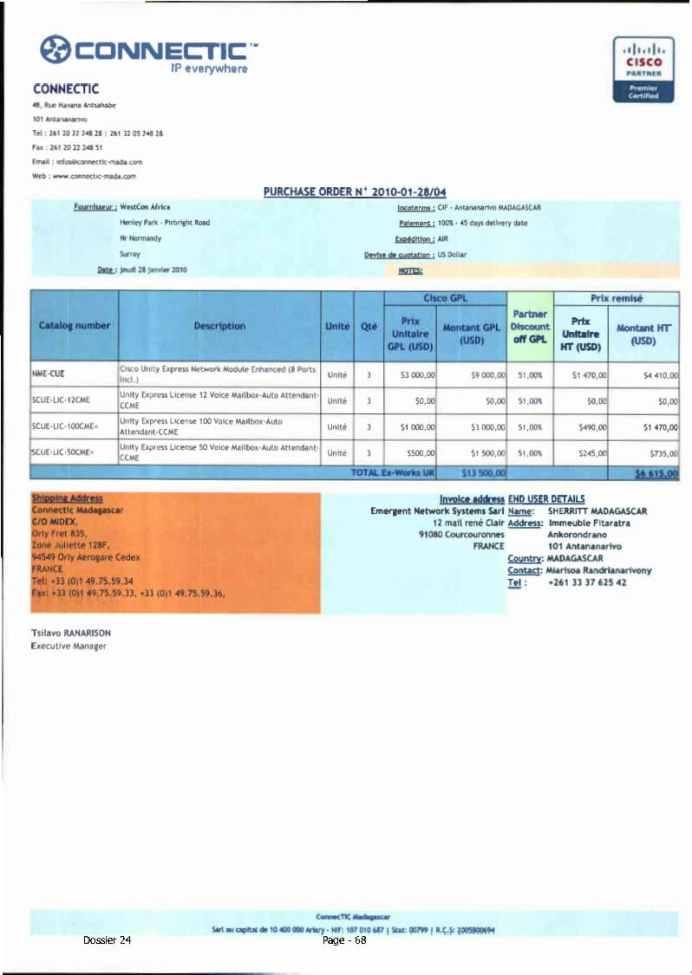 RANARISON Tsilavo ont signé les bons de commande de EMERGENT pour WESTCON Africa Page8 - RANARISON Tsilavo signent les bons de commande des produits CISCO achetés par EMERGENT NETWORK à WESTCON pour CONNECTIC