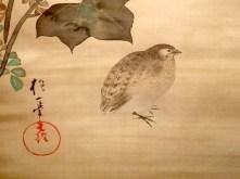 """Exposition """"Le Japon au fil des saisons"""" - détail d'un kakémono : une petite caille"""