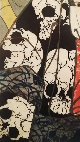 Kuniyoshi - détail d'une estampe - Kimono décoré de crânes formés de puzzles d images de chats
