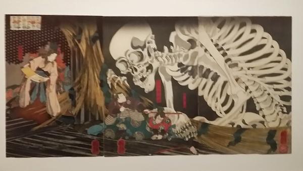 Estampe de Kuniyoshi - Monstrueux squelette dans l'ancien palais de Soma