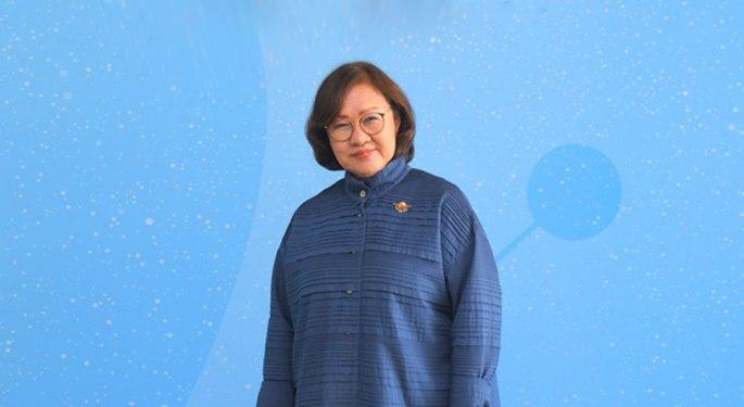 woman on blue blackground