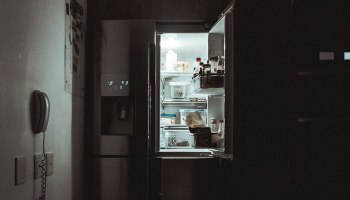 fridge in kitchen at night