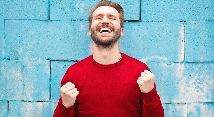 a man smiling